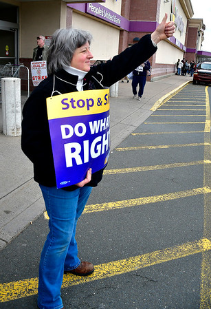 4/11/2019 Mike Orazzi | Staff Striking Stop & Shop worker Rose Sperduti at the grocery store on Route 6 in Bristol on Thursday.