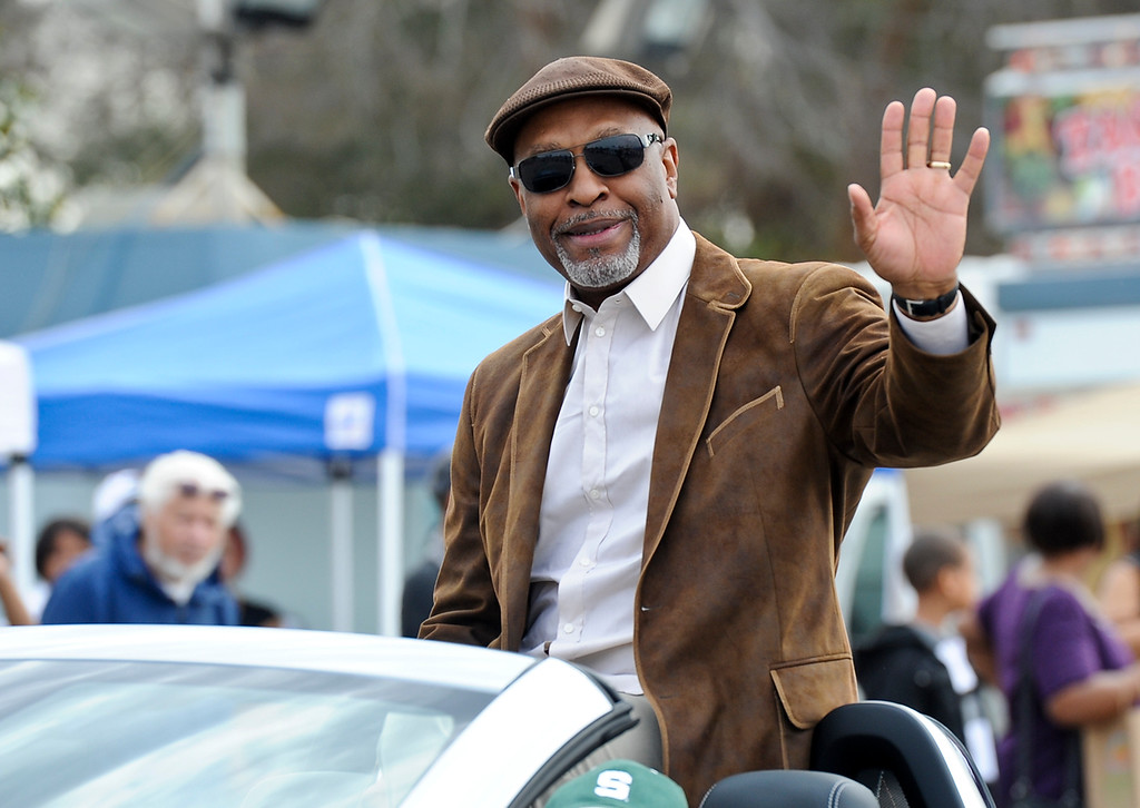 ". Parade grand marshal Jim Pickens Jr., of ABC\'s drama ""Grey\'s Anatomy,\"" waves to the crowd during the 44th annual Black History Parade at the National Orange show in San Bernardino on Saturday, Feb. 2, 2013. Hosted by the Southern California Black chamber of Commerce, this year\'s parade theme marked tribute to the 50th anniversary of Dr. Martin Luther King Jr. speech, \""I Have a Dream.\""  (Staff file photo/The Sun)"