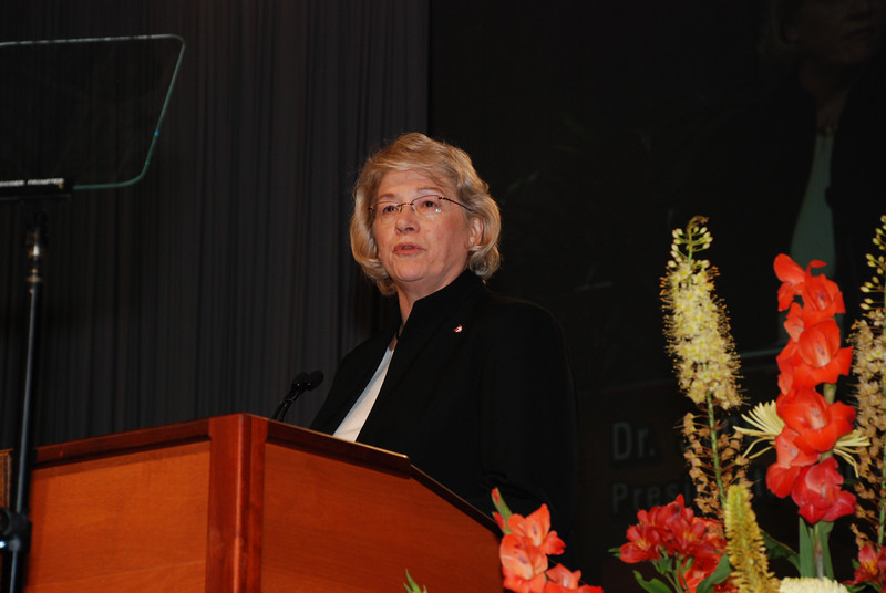 Dana College president, Dr. Janet Philipp addressing the Plenary session.