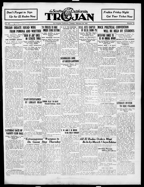 The Southern California Trojan, Vol. 15, No. 54, February 26, 1924