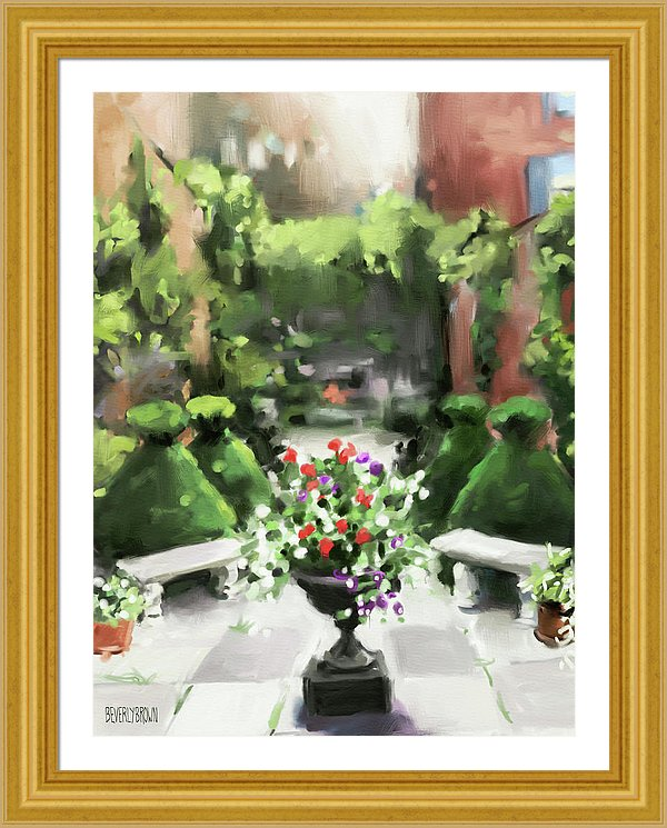 Secret Garden art painting framed print with gold frame by Beverly Brown - https://www.beverlybrown.com