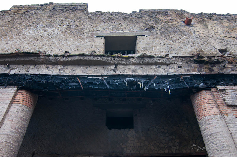 Burnt wood on the building at Herculaneum