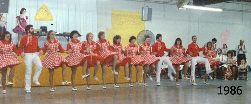 Blossom Hill Cloggers performing at NCCA Convention 1986