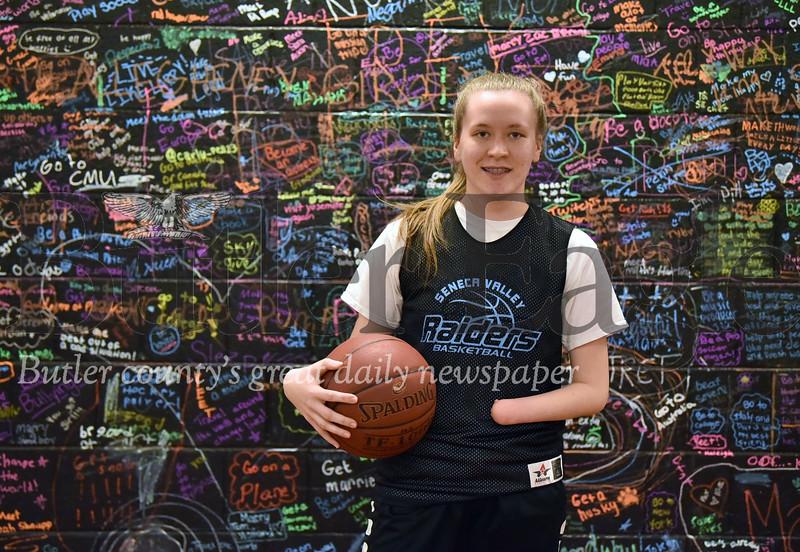 30121 Sydney Ring, one-handed girls basketball player at Seneca Valley