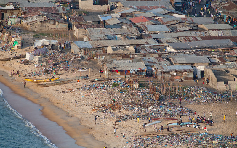 View over West Point, with it's polluted beaches and fishing community in downtown Monrovia, Liberia.