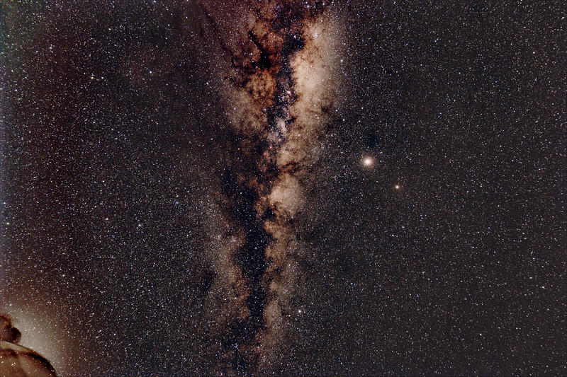 Milky Way Sagittarius - Vulpecula with Jupiter and Saturn - 21/07/2020 (Processed Stack)