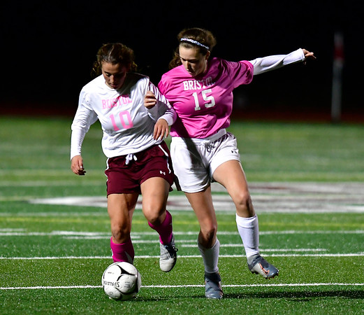 11/5/2019 Mike Orazzi | StaffrBristol Central's Bella Bosco (10) and Eastern's Cecelia Gilbert (15) during girls soccer at BC Tuesday night. r