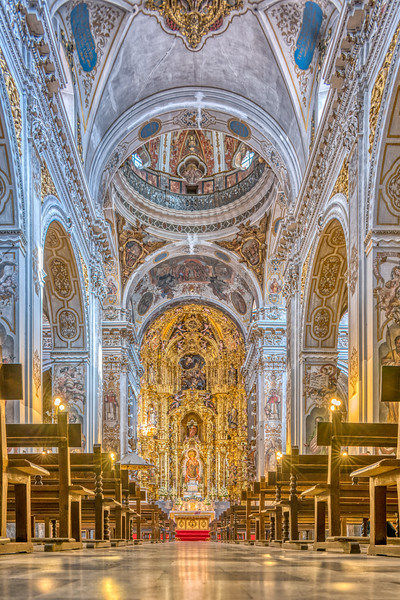 Nave and high altar, Magdalena church, Seville, Spain.