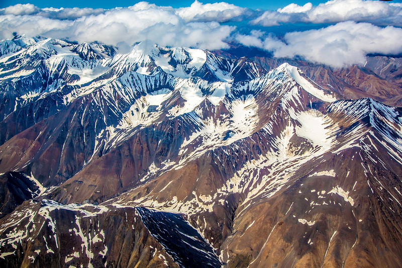 The spine of the Alaska Range, aerial photo from 9000 ft., May 27, 2015