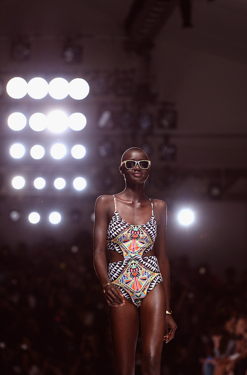 . A model walks the runway at the Mara Hoffman fashion show during Mercedes-Benz Fashion Week Spring 2014 at Lincoln Center for the Performing Arts on September 7, 2013 in New York City.  (Photo by Andrew H. Walker/Getty Images for Mercedes-Benz Fashion Week Spring 2014)