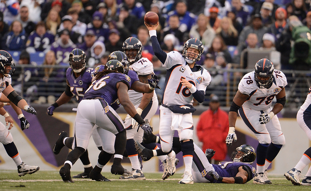 Description of . Denver Broncos quarterback Peyton Manning (18) throws down field during the third quarter against the Baltimore Ravens Sunday, December 16, 2012 at M&T Bank Stadium. John Leyba, The Denver Post