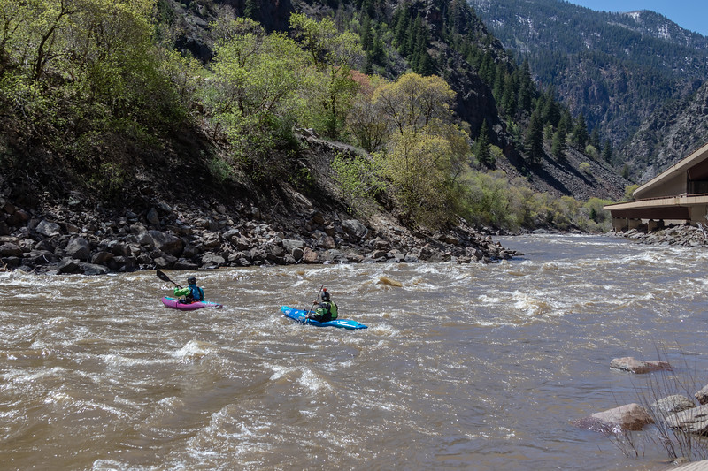 Kayakers on the Colorado River in Glenwood Canyon, Colorado, on April 27, 2019. Photo by Mitch Tobin/The Water Desk.
