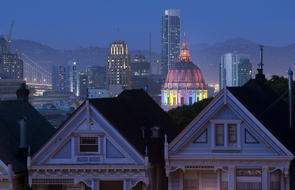 . San Francisco\'s Civic Center is lit up in Rainbow Lights in honor of Gay Pride in California on Saturday, June 29, 2013.     Josh Edelson/AFP/Getty Images