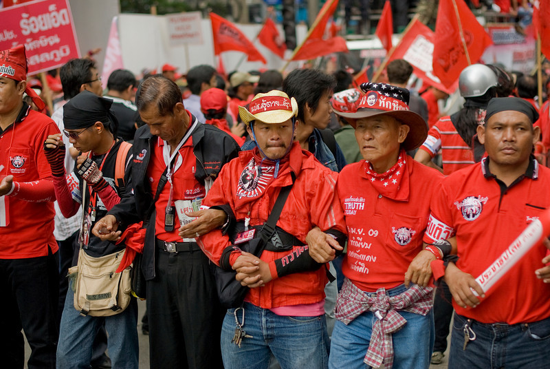 Protesters joining forces during Red Protest March in Thailand