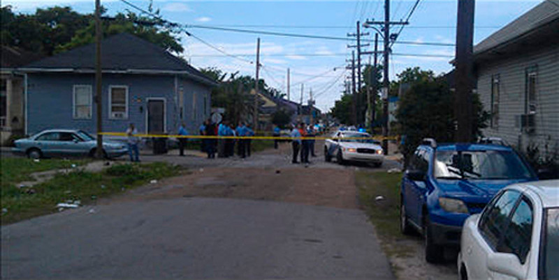 . New Orleans Police Department members are seen at the site of a shooting of at least 12 people during a Mother\'s Day parade in New Orleans, Louisiana, May 12, 2013, as pictured in this photo provided by Fox 8 News. At least 12 people were shot at the parade in New Orleans, with one victim as young as 10 years old, WWLTV reported, citing police Superintendent Ronal Serpas.    REUTERS/Fox 8 News/Handout