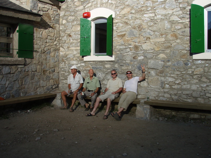 Enjoying a beer during our night at Refugio de la Renclusa 2140m