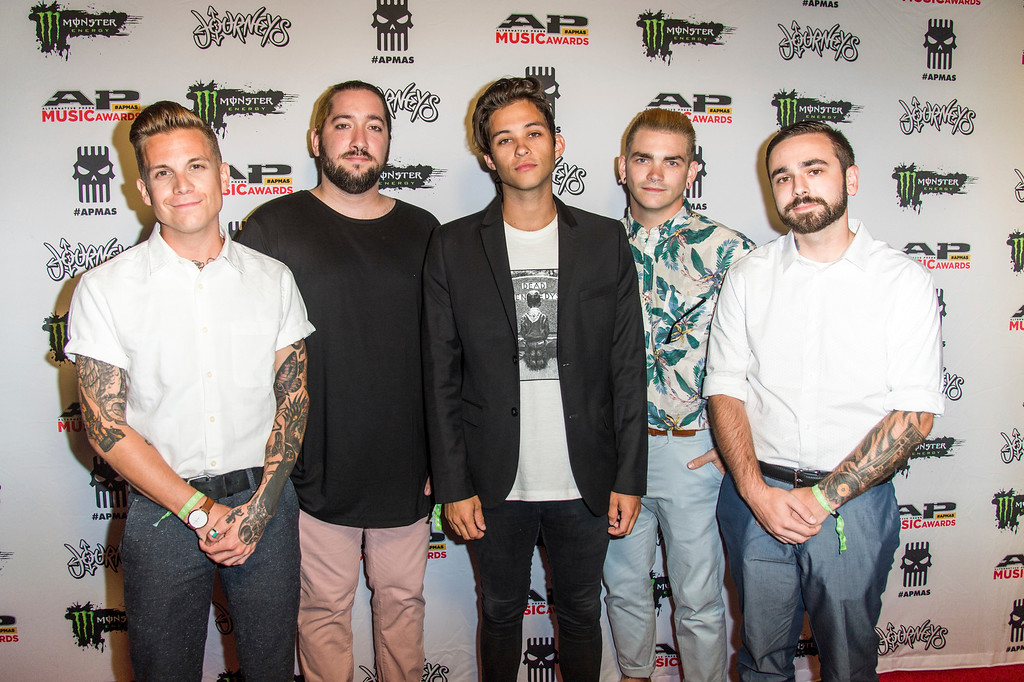 . Ollie Baxxter, from left, Josh Glupker, Dorian Cooke, Niles Gibbs and Andrew Dunton of Broadside seen at 2017 Alternative Press Music Awards at the KeyBank State Theatre on Monday, July 17, 2017, in Cleveland. (Photo by Amy Harris/Invision/AP)