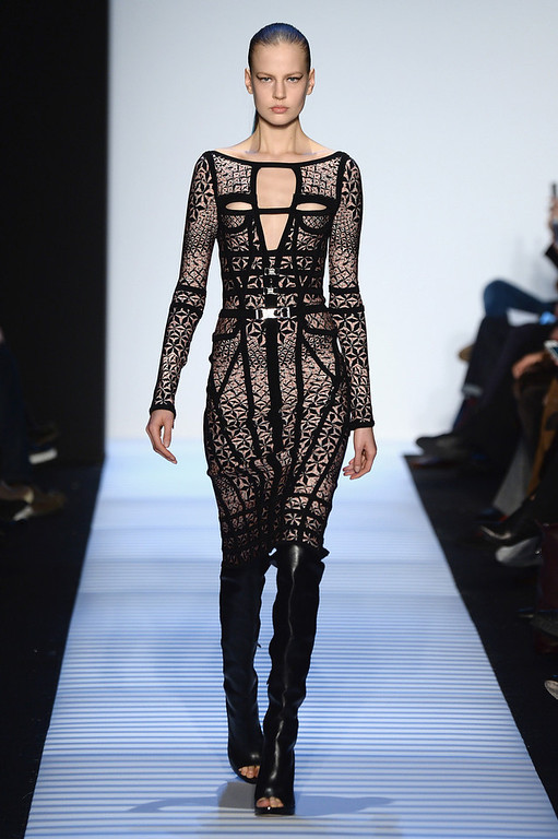. NEW YORK, NY - FEBRUARY 08:  A model walks the runway at the Herve Leger By Max Azria fashion show during Mercedes-Benz Fashion Week Fall 2014 at The Theatre at Lincoln Center on February 8, 2014 in New York City.  (Photo by Frazer Harrison/Getty Images for Mercedes-Benz Fashion Week)