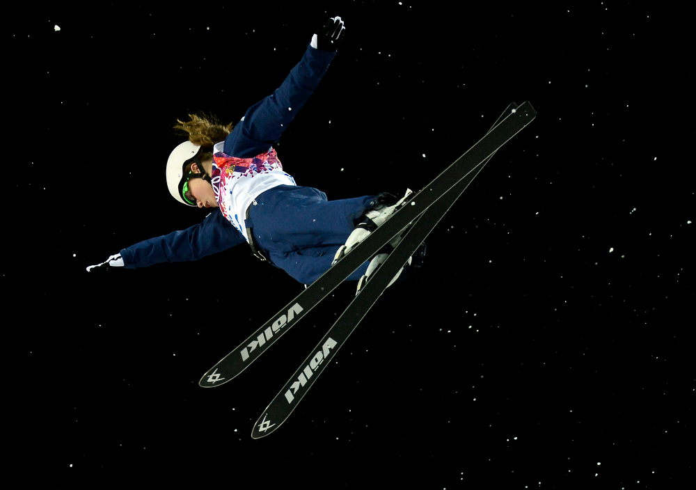 . US Ashley Caldwell competes in the Women\'s Freestyle Skiing Aerials finals at the Rosa Khutor Extreme Park during the Sochi Winter Olympics on February 14, 2014.    (FRANCK FIFE/AFP/Getty Images)