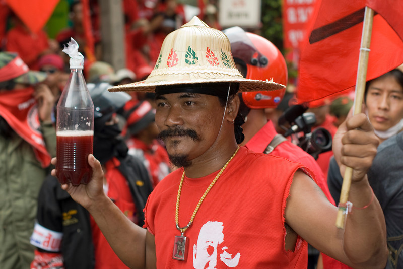 Portrait of a protester in red shirt - Thailand