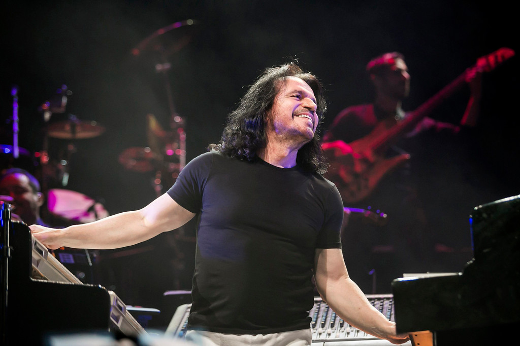 . Greek pianist and composer Yanni performs during his concert in Papp Laszlo Budapest Sports Arena in Budapest, Hungary, Thursday, March 28, 2013. Yanni performs May 18 at Jacobs Pavilion at Nautica. For more information, visit nauticaflats.com. (AP Photo/MTI, Balazs Mohai)
