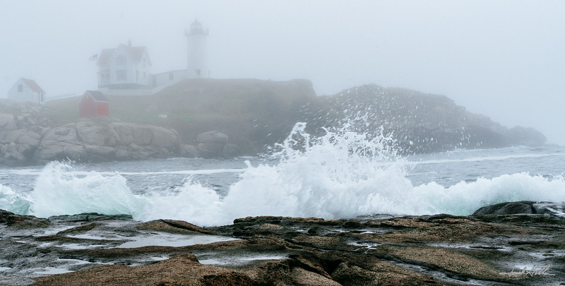 Crashing waves in the fog Cape Neddick (Nubble) Light