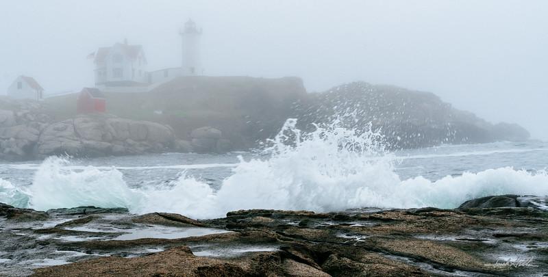 Crashing waves in the fog Cape Neddick (Nubble) Light