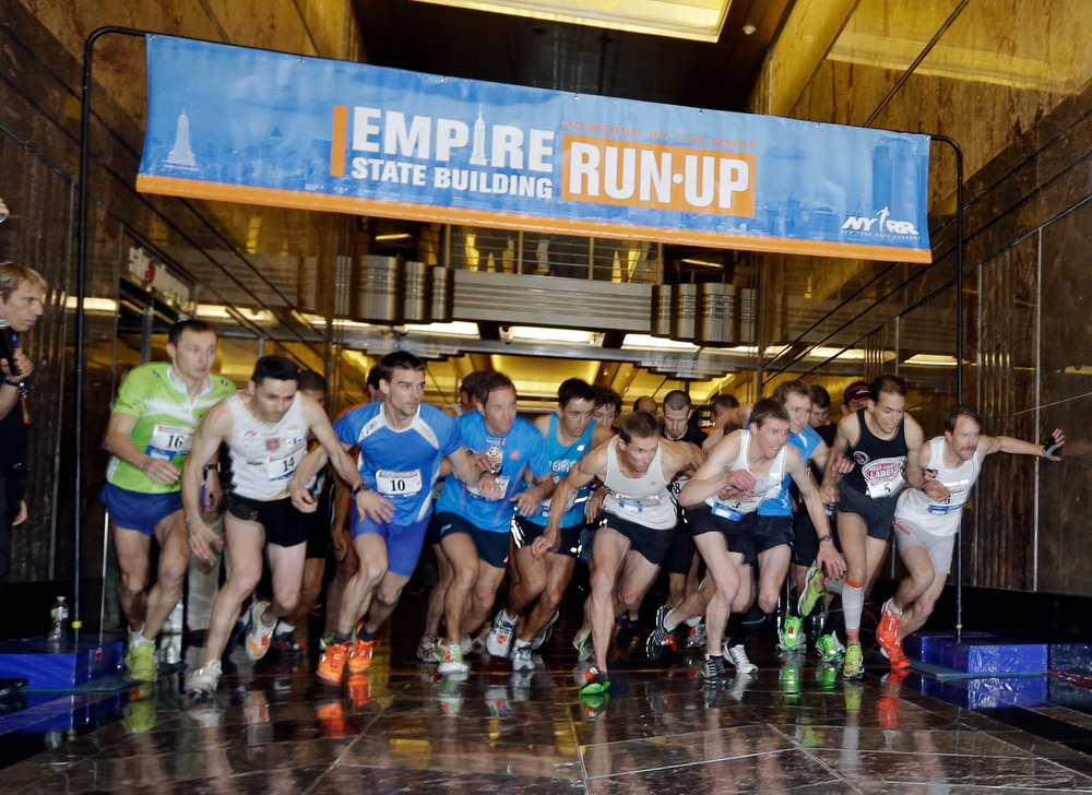 . Contestants make their way up 86 flights of stairs at during the Empire State Building Run-Up, Wednesday, Feb. 6, 2013, in New York. (AP Photo/Frank Franklin II)