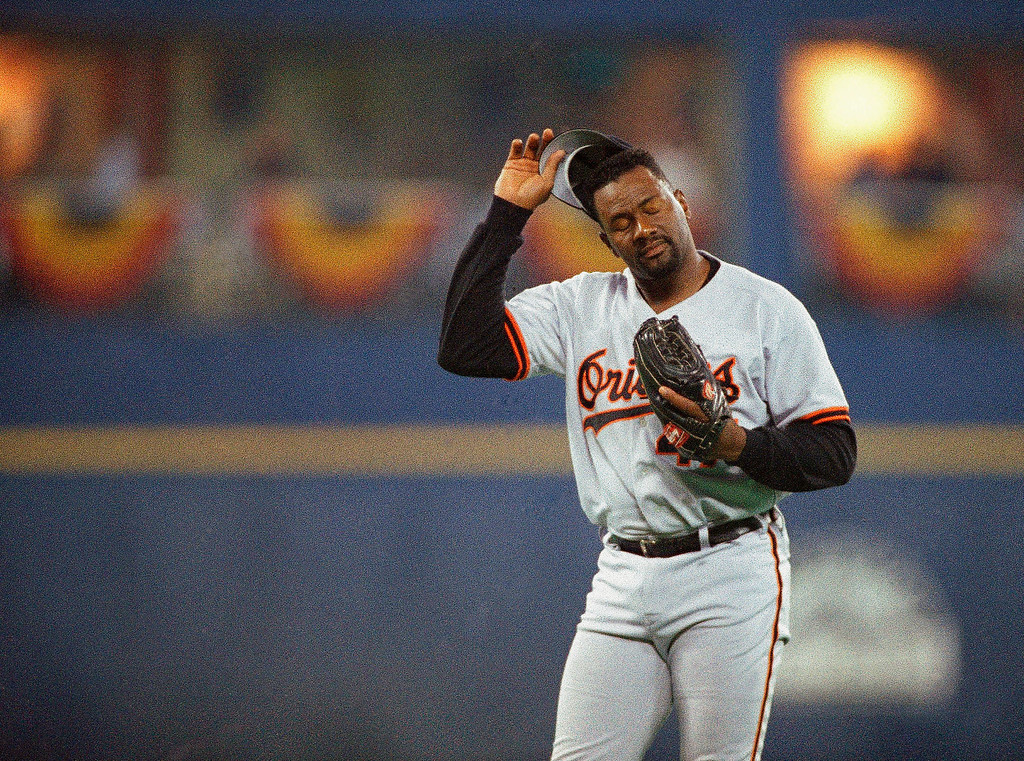 . LEE SMITH -- Baltimore Orioles pitcher Lee Smith reacts after giving a ninth inning home run to Atlanta Braves Fred Mcgriff at the 65th All Star Game on July 12, 1994 at Three River Stadium in Pittsburg. (AP Photo/Gene Puskar)