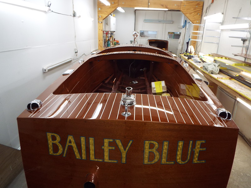 Rear view of the boat with the deck hardware installed.
