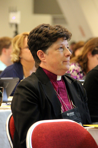 The Rev. Elizabeth A. Eaton, bishop of the Evangelical Lutheran Church in America (ELCA) Northeastern Ohio Synod, was elected Aug. 14 presiding bishop of the ELCA at the 2013 ELCA Churchwide Assembly. She was elected on the fifth ballot. There were 889 votes cast, and 445 votes were needed for an election. Eaton received 600 votes and the Rev. Mark S. Hanson, ELCA presiding bishop, received 287. Eaton is the ELCA's first woman presiding bishop-elect.