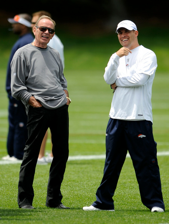 . Denver Broncos Owner Pat Bowlen share a laugh with Head Coach Josh McDaniels after their practice at Mini Camp Monday, June 8, 2009 at Dove Valley. John Leyba, The Denver Post