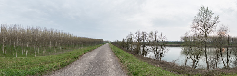 Strada Argine Oglio - Marcaria, Mantova, Italy - March 24, 2015