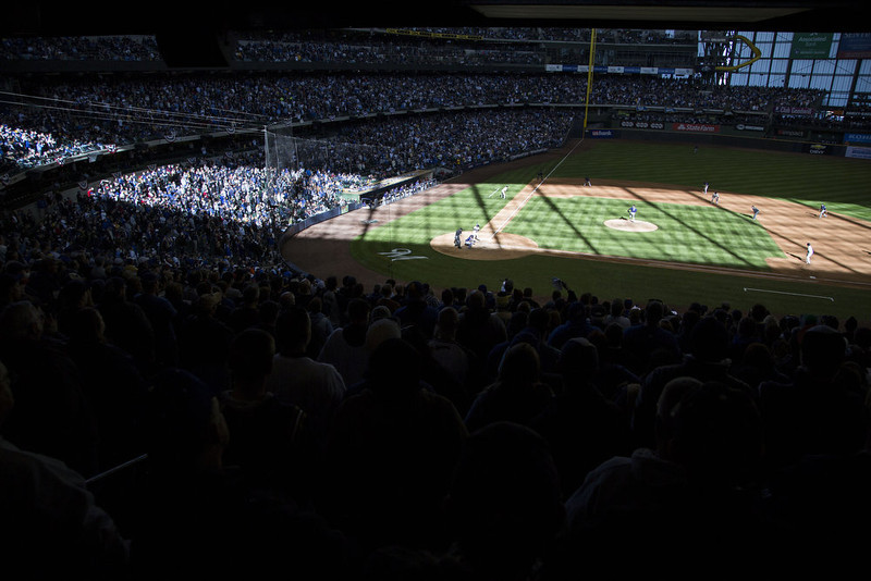 . Late afternoon light paints the filed during the Milwaukee Brewers and Colorado Rockies game on opening day at Miller Park on April 1, 2013 in Milwaukee, Wisconsin.  (Photo by Tom Lynn/Getty Images)