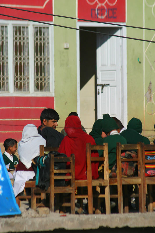 Schools were open by Nov 15 in bagh and were being systematically opened in the valley.  The kids are outside since not too many people want to be indoors at this stage.  At the higher elevations, the schools close for long holidays over the winter.