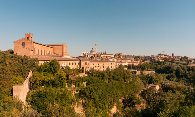 Old Town of Siena with Basilica of San Domenico (Basilica Cateriniana) and Cathedral (Duomo), Tuscany, Italy