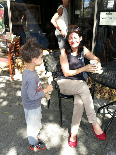 Karl (that cheek is always full) and Nurit at Peet's Coffee, University Avenue