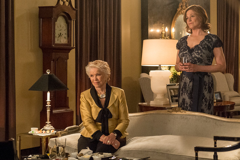 ". This image released by USA shows Ellen Burstyn as Margaret, left, and Sigourney Weaver as Elaine Barrish Hammond in ""Political Animals.\"" The program was nominated for an Emmy Award for outstanding miniseries or movie on, Thursday July 18, 2013. Burstyn was also nominated for best supporting actress in a miniseries or movie and Weaver was nominated for best actress in a miniseries or movie. The Academy of Television Arts & Sciences\' Emmy ceremony will be hosted by Neil Patrick Harris. It will air Sept. 22 on CBS. (AP Photo/USA,  David Giesbrecht)"