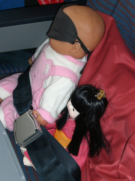 Bette's babes - strapped in for the flight home in line with Qantas' requirements!