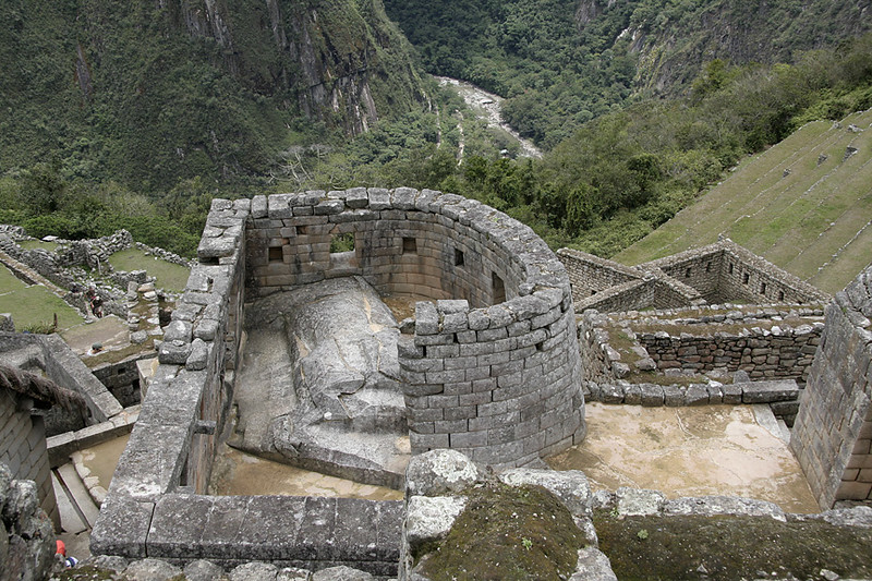 The temple of the sun; the only round building at Machu Picchu.