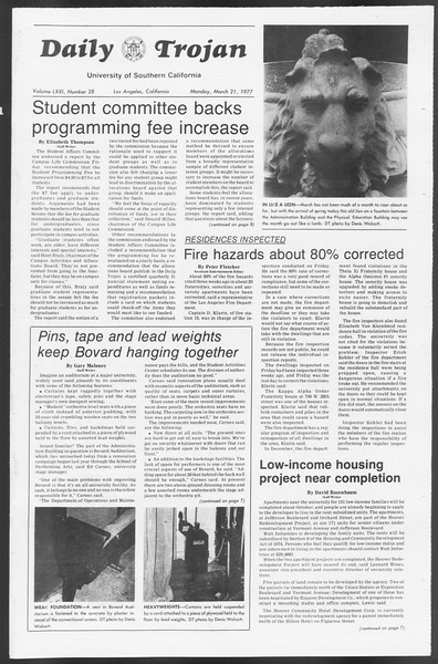 Daily Trojan, Vol. 71, No. 28, March 21, 1977