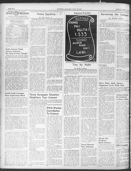 Daily Trojan, Vol. 30, No. 121, April 24, 1939