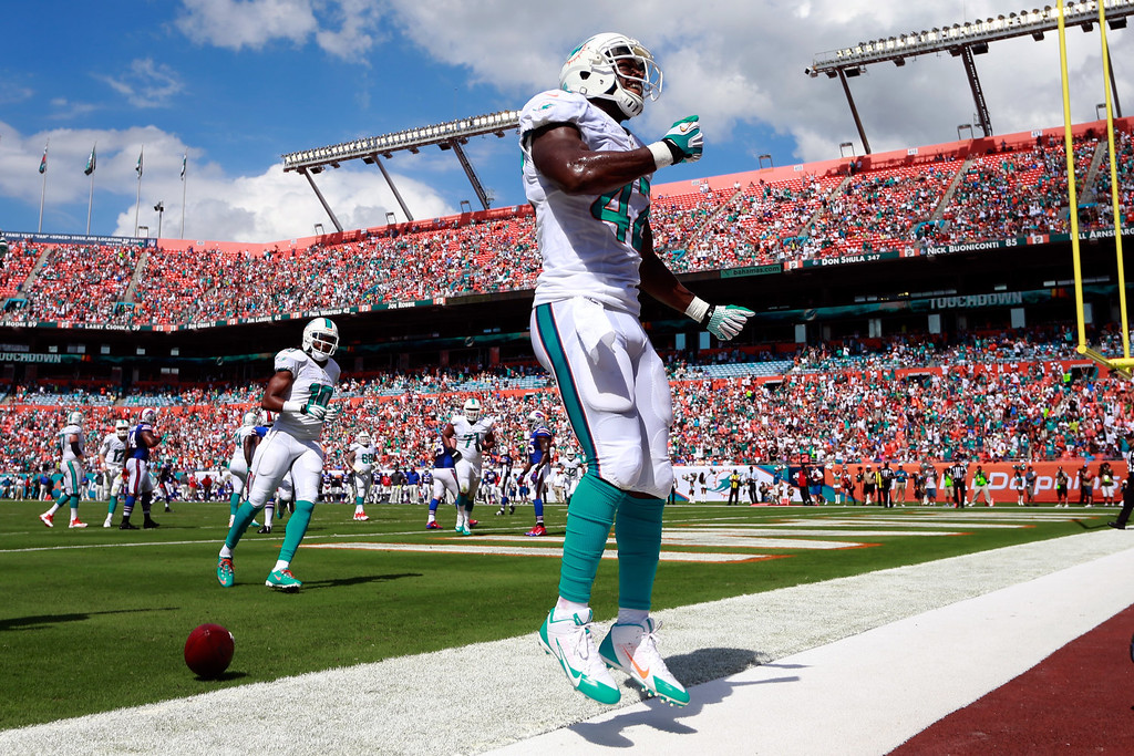 . Charles Clay #42 of the Miami Dolphins celebrates a touch down in the second quarter against the Buffalo Bills at Sun Life Stadium on October 20, 2013 in Miami Gardens, Florida.  (Photo by Chris Trotman/Getty Images)