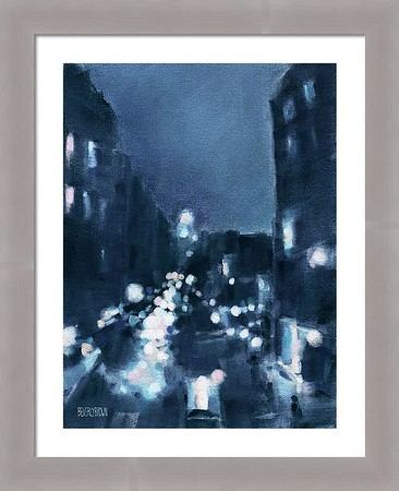 New York wall art with custom gray frame, featuring a cityscape across 23rd Street at night, as seen from the New York High Line. Painted in shades of midnight blue, white aqua and pink by New York artist, Beverly Brown. New York-themed custom framed prints and canvas wall art for sale at www.beverlybrown.com