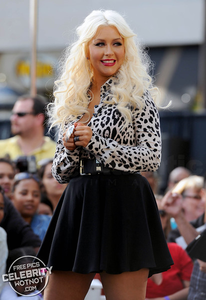 Christina Aguilera Stylish In Leopard Print With Mathew Rutler in LA