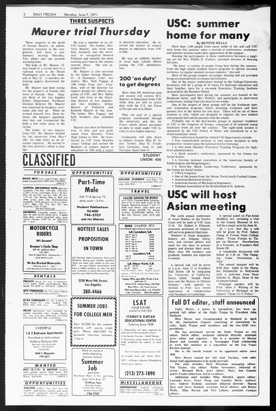 Daily Trojan, Vol. 62, No. 127, June 07, 1971