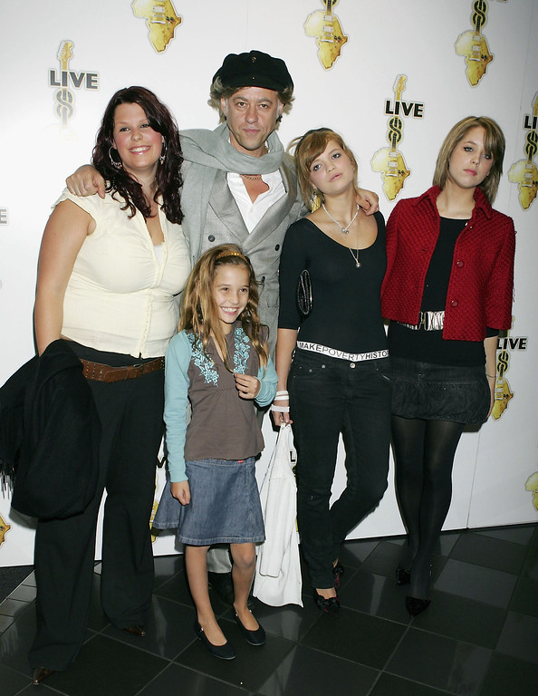 . Fifi Trixibell Geldof; Tiger Lilly Geldof; Peaches Geldof; Pixie Geldof; Bob Geldof attends the global premiere for the Live 8 DVD, featuring live footage of the MAKEpovertyHISTORY awareness-raising concerts on July 2, at Vue West End on October 27, 2005 in London, England. (Photo by Jo Hale/Getty Images)