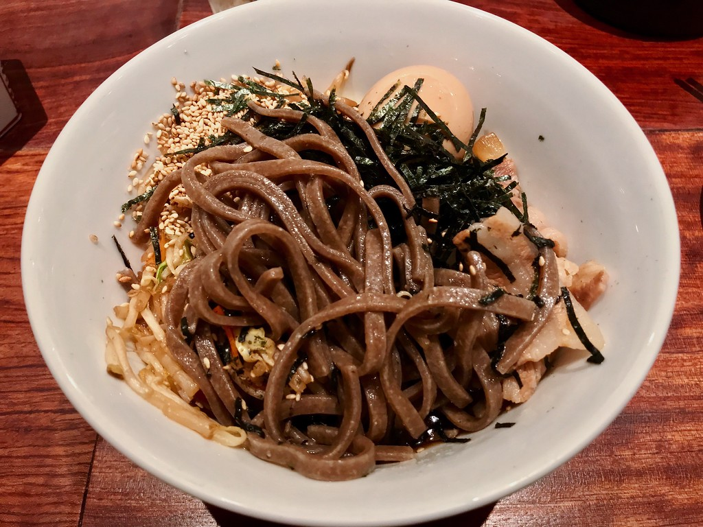 Thick, rustic buckwheat noodles.