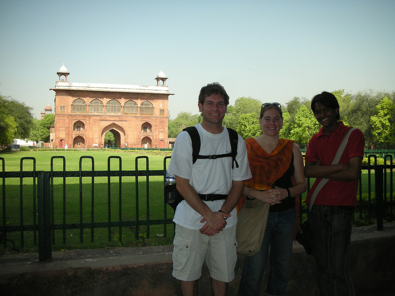 Delhi: Jon Deutsch, Cheryl Deutsch & Amar in front of one of the gates to the Red Fort.