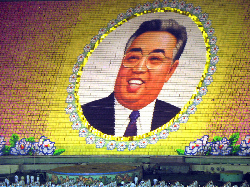 . Dancers perform for the Arirang festival at the May Day stadium in Pyongyang to celebrate the 95th birth anniversary of late North Korean leader Kim Il-Sung on April 14, 2007.  Thousands of North Koreans paid their respects to the communist state\'s late founder Kim Il-Sung as the capital took on a festival atmosphere for his 95th birth anniversary.  Families, with the men in suits and ties and the women in colorful traditional gowns, took leisurely strolls across Pyongyang where cherry blossoms were in bloom on one of the most important dates on its calendar.   (PHILIPPE AGRET/AFP/Getty Images)